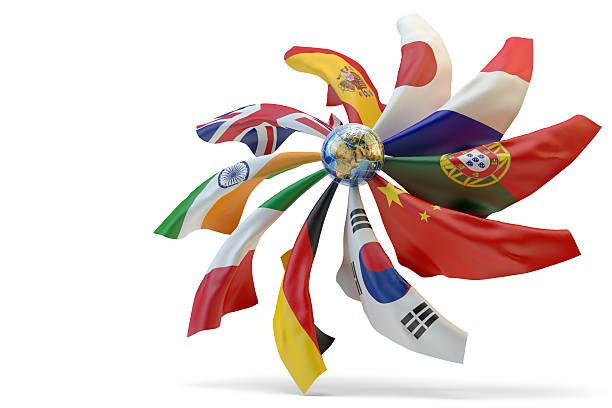 Global communication and language translation concept National flags of world countries around small Earth globe isolated on white background diplomacy stock pictures, royalty-free photos & images