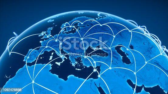 878855462istockphoto Global Communication And Network (World Map Credits To NASA) 1092426898