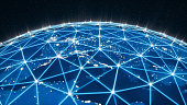 Global network and technology background.