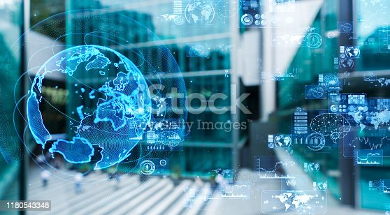 istock Global communication concept. Smart city. 1180543348