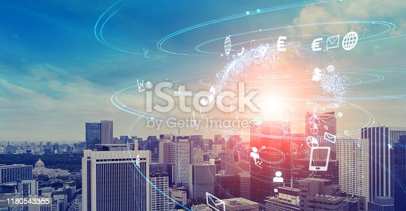 1140691204istockphoto Global communication concept. Smart city. 1180543355