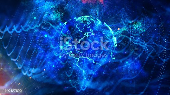1140427616 istock photo Global communication concept. Technological abstract background 1140427620