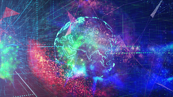 1140427616 istock photo Global communication concept. Technological abstract background 1140427630