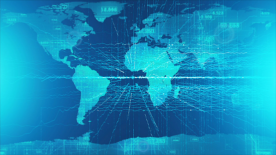 1140427616 istock photo Global communication concept. Technological abstract background 1140427631