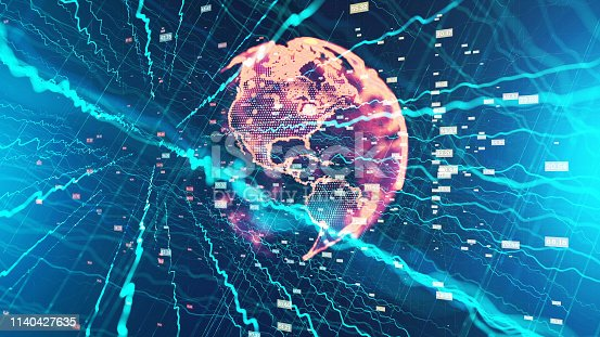 1140427616 istock photo Global communication concept. Technological abstract background 1140427635