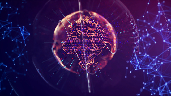 1140427616 istock photo Global communication concept. Technological abstract background 1140427666