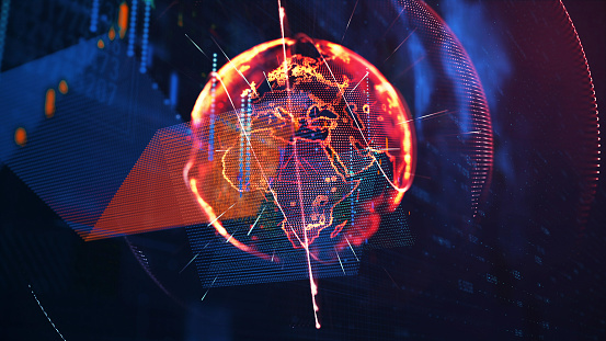 1140427616 istock photo Global communication concept. Technological abstract background 1140427673