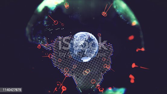 1140427616 istock photo Global communication concept. Technological abstract background 1140427675