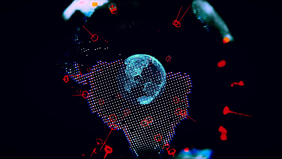 1140427616 istock photo Global communication concept. Technological abstract background 1140427688