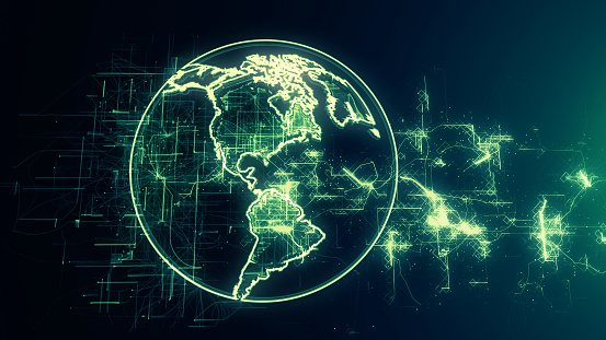 1140427616 istock photo Global communication concept. Technological abstract background 1140427698