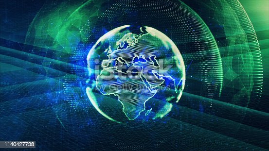 1140427616 istock photo Global communication concept. Technological abstract background 1140427738
