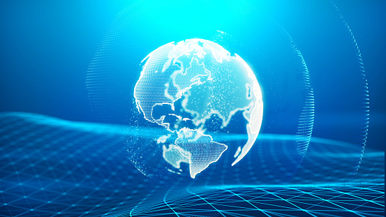 1140427616 istock photo Global communication concept. Technological abstract background 1197480379