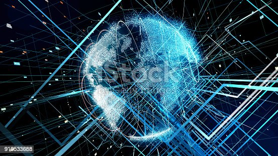 istock Global communication concept. Technological abstract background. 919533688