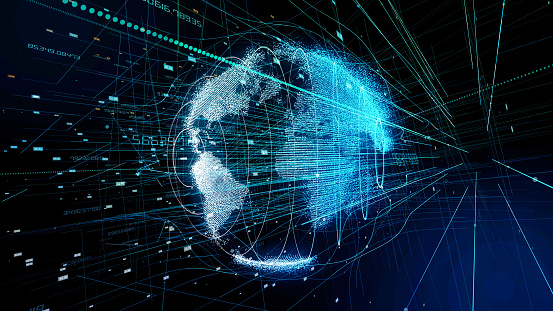 istock Global communication concept. Technological abstract background. 919533704