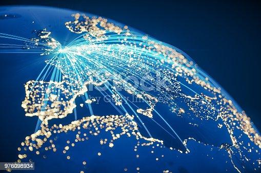 istock Global Communication From United Kingdom (World Map Credits To NASA) 976098934