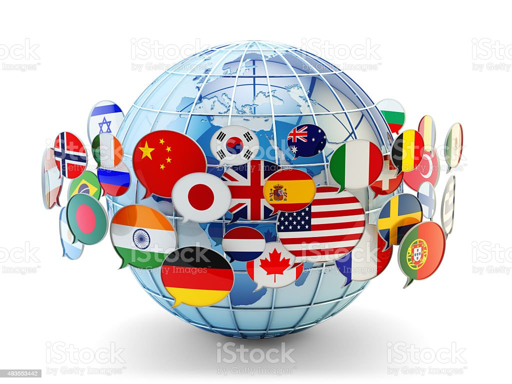 Global communication, international messaging and translation concept Speech bubbles with national flags of world countries around blue Earth globe isolated on white background. 2015 Stock Photo