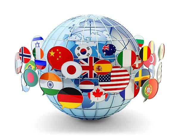 Globale Kommunikation, internationale Nachrichten und Übersetzung Konzept – Foto