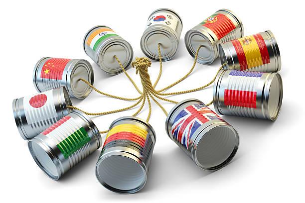 Global communication concept de traduction et de messagerie international - Photo