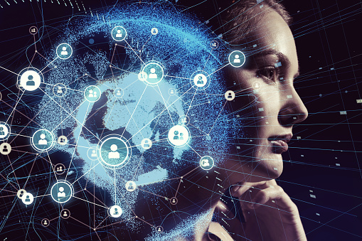 istock Global communication network and AI (Artificial Intelligence) concept. 904417970