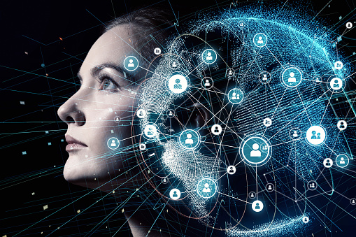 istock Global communication network and AI (Artificial Intelligence) concept. 904417994