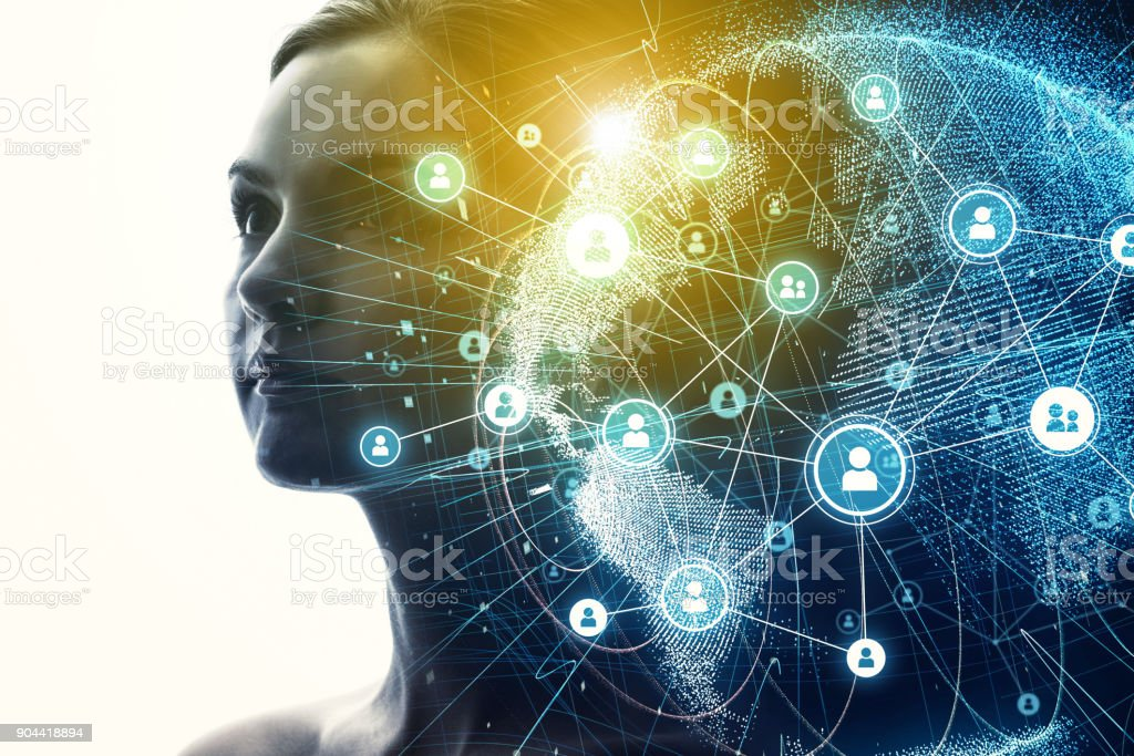 Global communication network and AI (Artificial Intelligence) concept. royalty-free stock photo