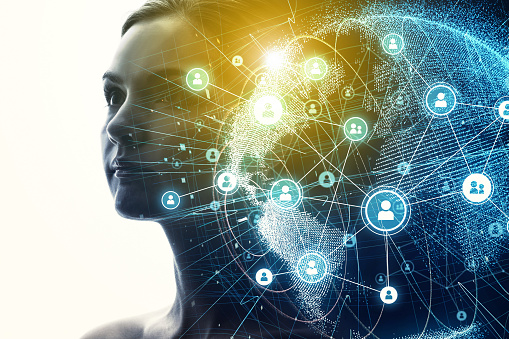 istock Global communication network and AI (Artificial Intelligence) concept. 904418894