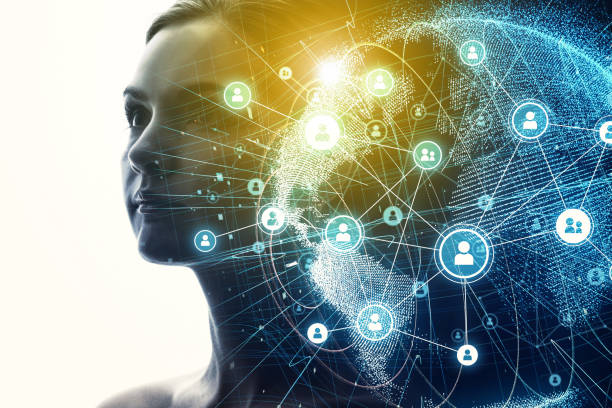 Rede de comunicação global e conceito de AI (Inteligência Artificial). - foto de acervo