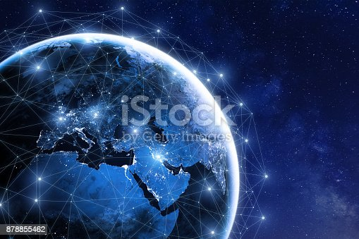 istock Global communication network around planet Earth in space, worldwide exchange 878855462
