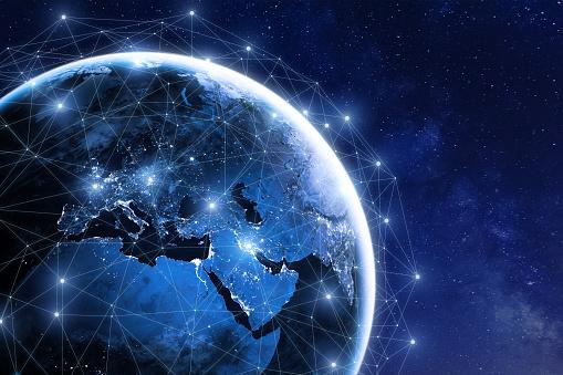 istock Global communication network around planet Earth in space, worldwide exchange 878855462
