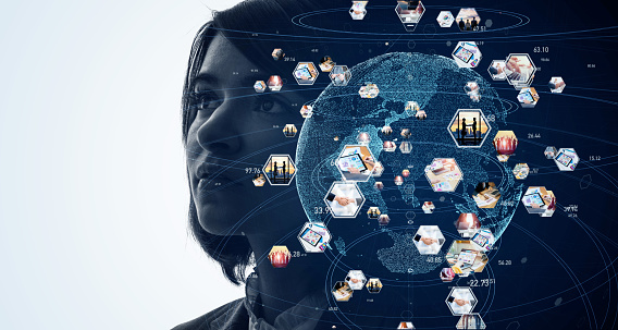 872670560 istock photo Global communication network concept. AI (Artificial Intelligence). 1209662283