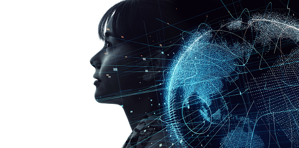 1054574034 istock photo Global communication network concept. Artificial Intelligence. 1161358581