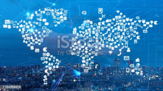 istock Global communication network concept. Business solution. 1154359424