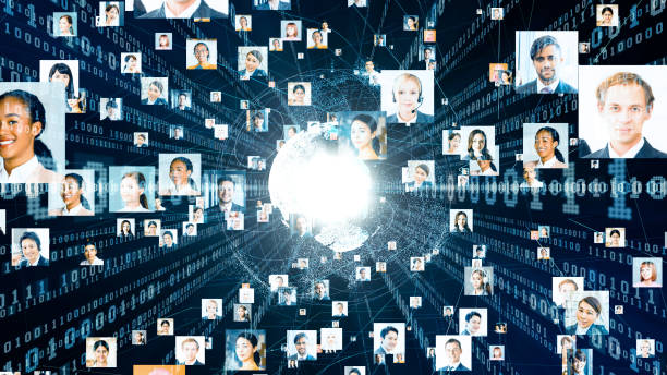 Global communication network concept. Diversity. stock photo