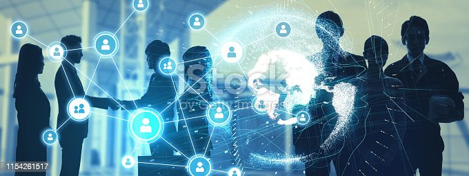1180187740istockphoto Global communication network concept. Group of workers. 1154261517