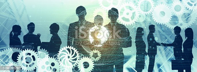 istock Global communication network concept. Group of workers. 1154261737