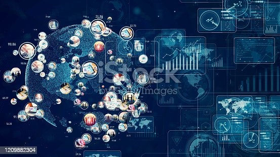 1154261846 istock photo Global communication network concept. Management strategy. Worldwide business. 1209882304