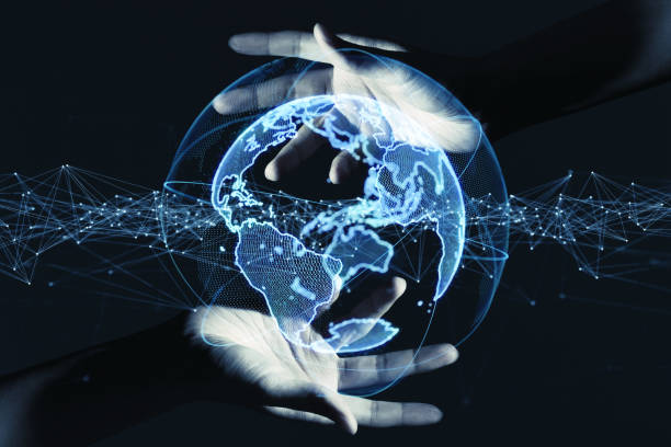 Global communication network concept. stock photo