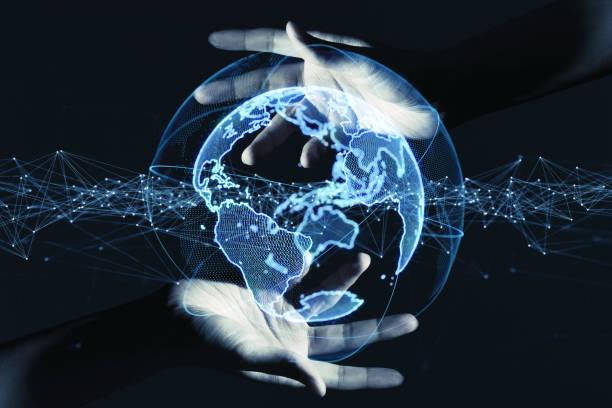 global communication network concept. - człowiek maszyna zdjęcia i obrazy z banku zdjęć