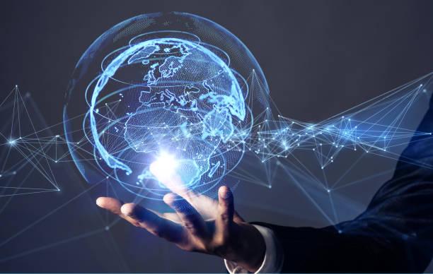 küresel iletişim ağı kavramı. - küresel stok fotoğraflar ve resimler