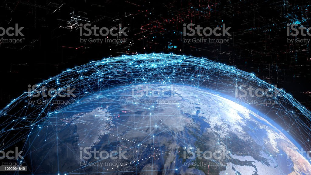 Global communication network concept. Global communication network concept. Elements of this image furnished by NASA. 3D rendering. Abstract Stock Photo