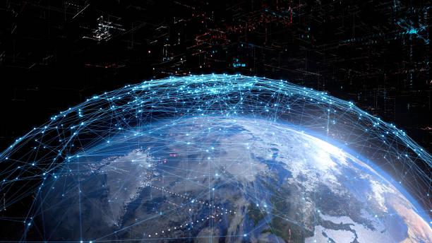 koncepcja globalnej sieci komunikacyjnej. - sieć komputerowa zdjęcia i obrazy z banku zdjęć