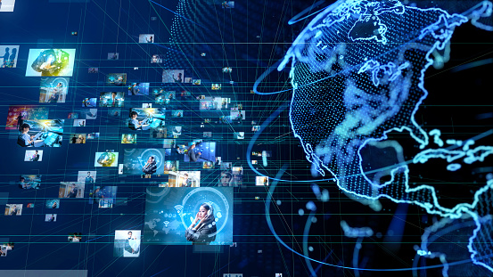 185274311 istock photo Global communication network concept. 1129515293