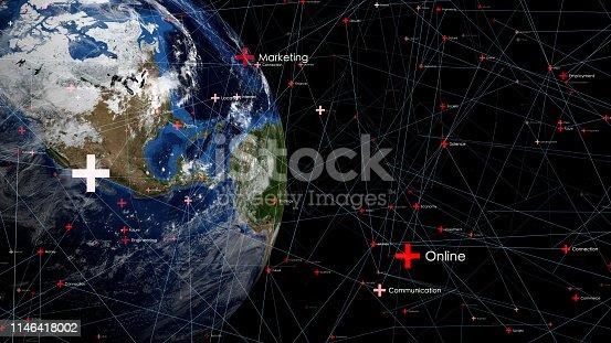 1195482922istockphoto Global communication network concept. 1146418002