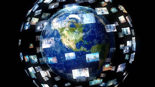 グローバルコミュニケーションネットワークの概念。 - 地球 日本 ストックフォトと画像
