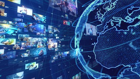 185274311 istock photo Global communication network concept. 1169722511