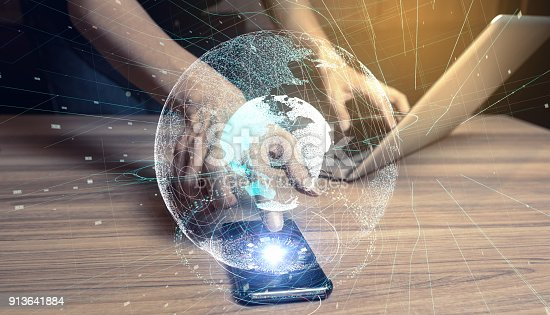 istock Global communication network concept. 913641884