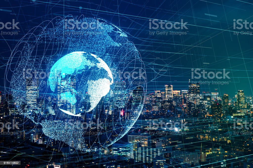 Globale Kommunikation-Netzwerk-Konzept. Lizenzfreies stock-foto