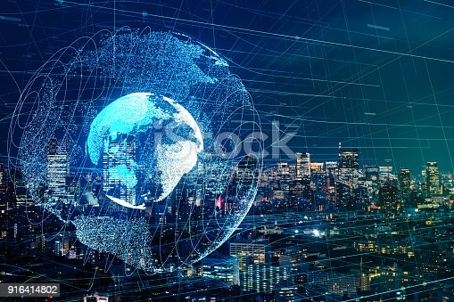 istock Global communication network concept. 916414802