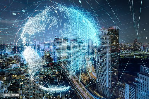 istock Global communication network concept. 916414838