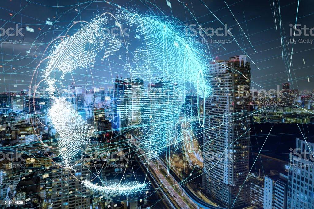 Wereldwijde communicatie netwerk concept. foto